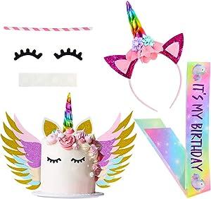 Beinou Unicorn Cake Topper Rainbow Unicorn Headband with Birthday Sash Unicorn Birthday Decorations for Girls Birthday Party Supplies Favor Set