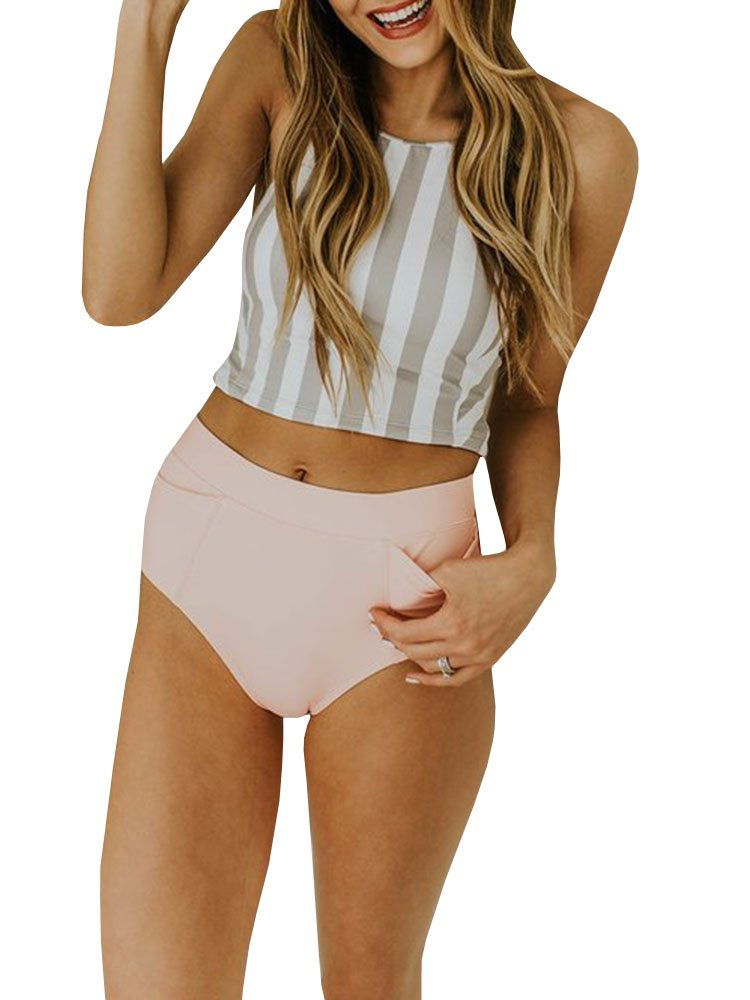 chimikeey Womens 2 Piece Striped High Waisted Halter Swimsuits Bathing Suits