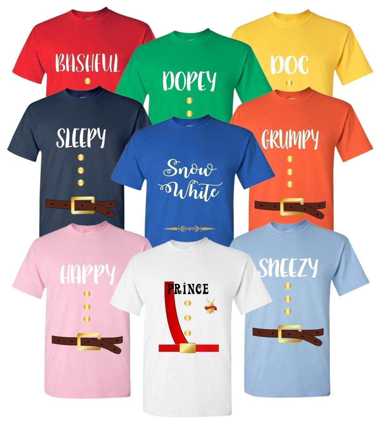 family costumes Silhouette Cosplay shirts SVG disney Costume group Disney Costume SVG 7 dwarfs t-shirt svg Matching tees Cricut SVG