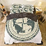 Cal King Measurements Vs King Comfortable Bed Sheet Set with Bedding Pillow Case Cover for bed width 6.6ft Pattern by,Compass Decor,Illustration of Globe with Scale Arrows Measurement Traveling Exploration Journey,Green Beige