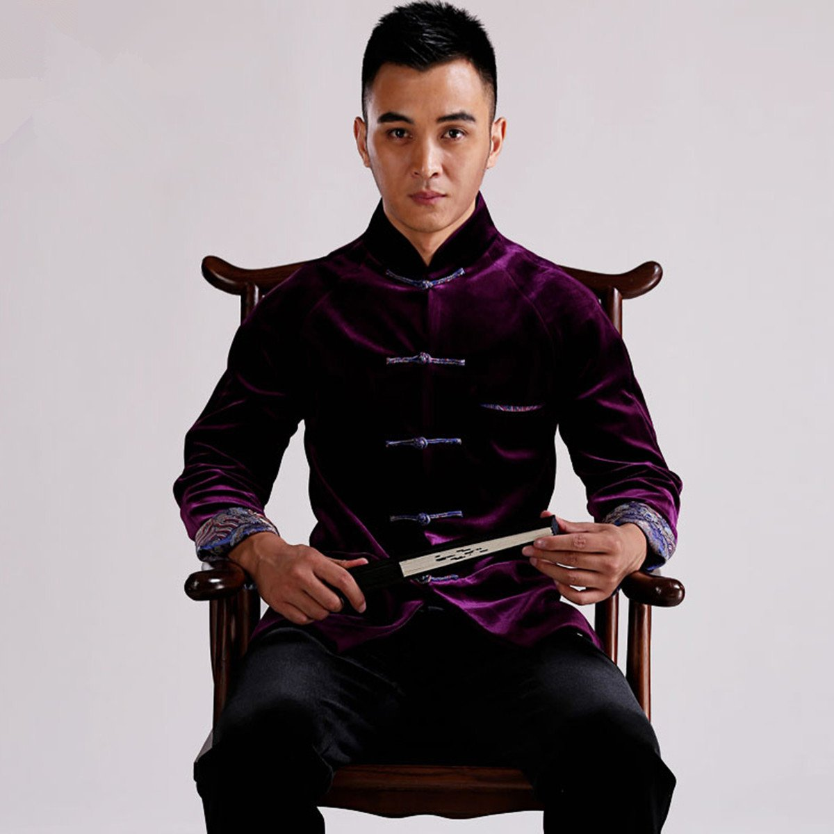 WEISAN Mens Chinese Traditional Tang Suit Velvet Chinese Kung Fu Costume Coat by WEISAN (Image #2)