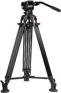 E-Image 2 Stage Aluminum Video Tripod w/GH03 Fluid Pan/Tilt Video Head, Maximum Height: 66.5″, 75mm Bowl, Variable Tilt/Drag, 11lb Capacity (EG03A2) - Black