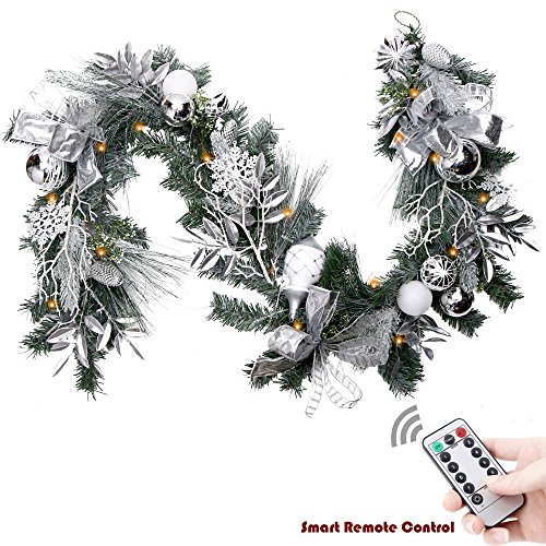 Valery Madelyn Pre-Lit 72 Inch/6Feet Frozen Winter Silver White Christmas Garland with Shatterproof Ball Ornaments and Accessories, Battery Operated 20 LED Lights with Remote and Timer Christmas Garlands
