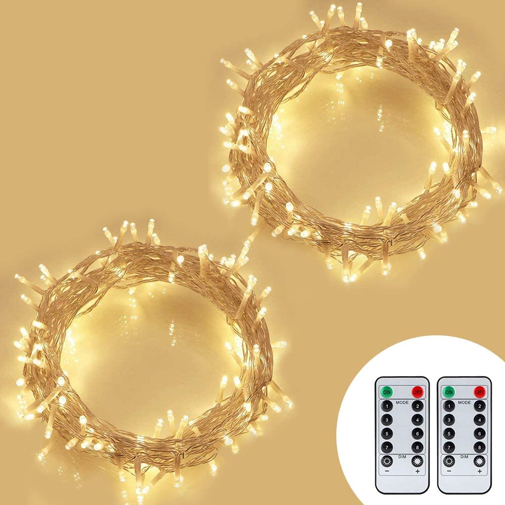 koopower 2pack 100 LEDs Outdoor Battery Operated Power String Lights Christmas Lights Mini Lights for Christmas Tree Wreath Garden Wedding Party