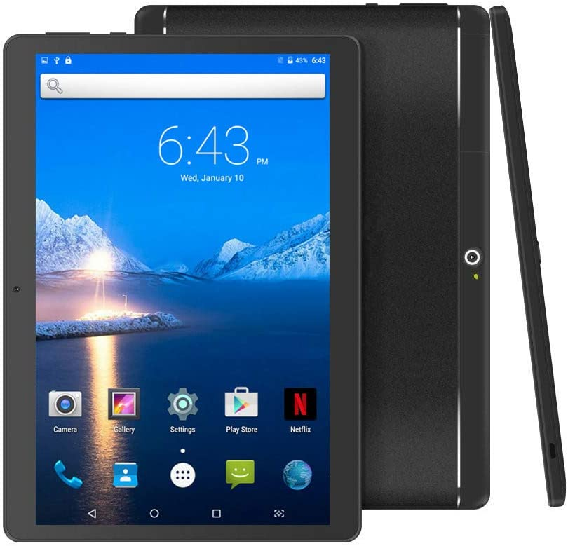 """Android Tablet 10 inch with Sim Card Slot Unlocked - YELLYOUTH 10.1"""" Octa Core 4GB RAM 64GB ROM Tablets with WiFi Bluetooth GPS and Dual Cameras 3G GSM Phablet (Black with Metal Shell)"""