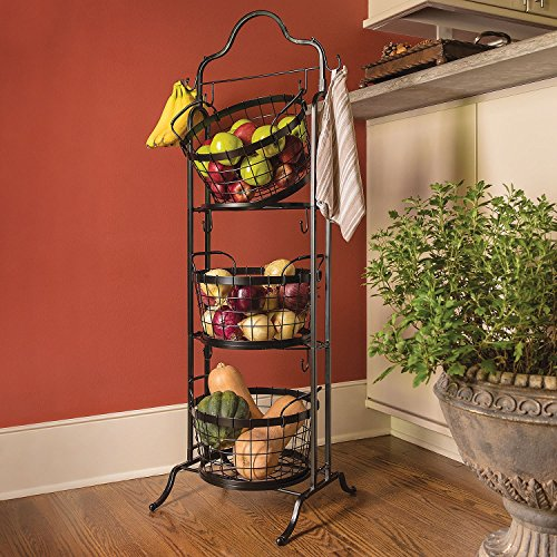 3-Tier Floor Stand Bushel Basket (3 Shelf Corner Stand)
