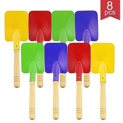 Faxco 8 Pieces 8'' Toy Shovels,Mini Shovel Kids Garden Tools,Wooden Handle Beach Shovels Garden Shovels: Toys & Games