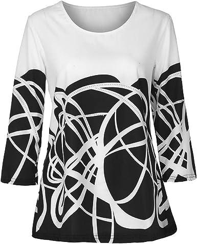 FAMILIZO_Camisetas Mujer Tallas Grandes Verano Originales Blusa Mujer Elegante Manga Largo Algodón Fiesta Camisas T Shirt Women Tops Flores Manga 3/4: Amazon.es: Ropa y accesorios