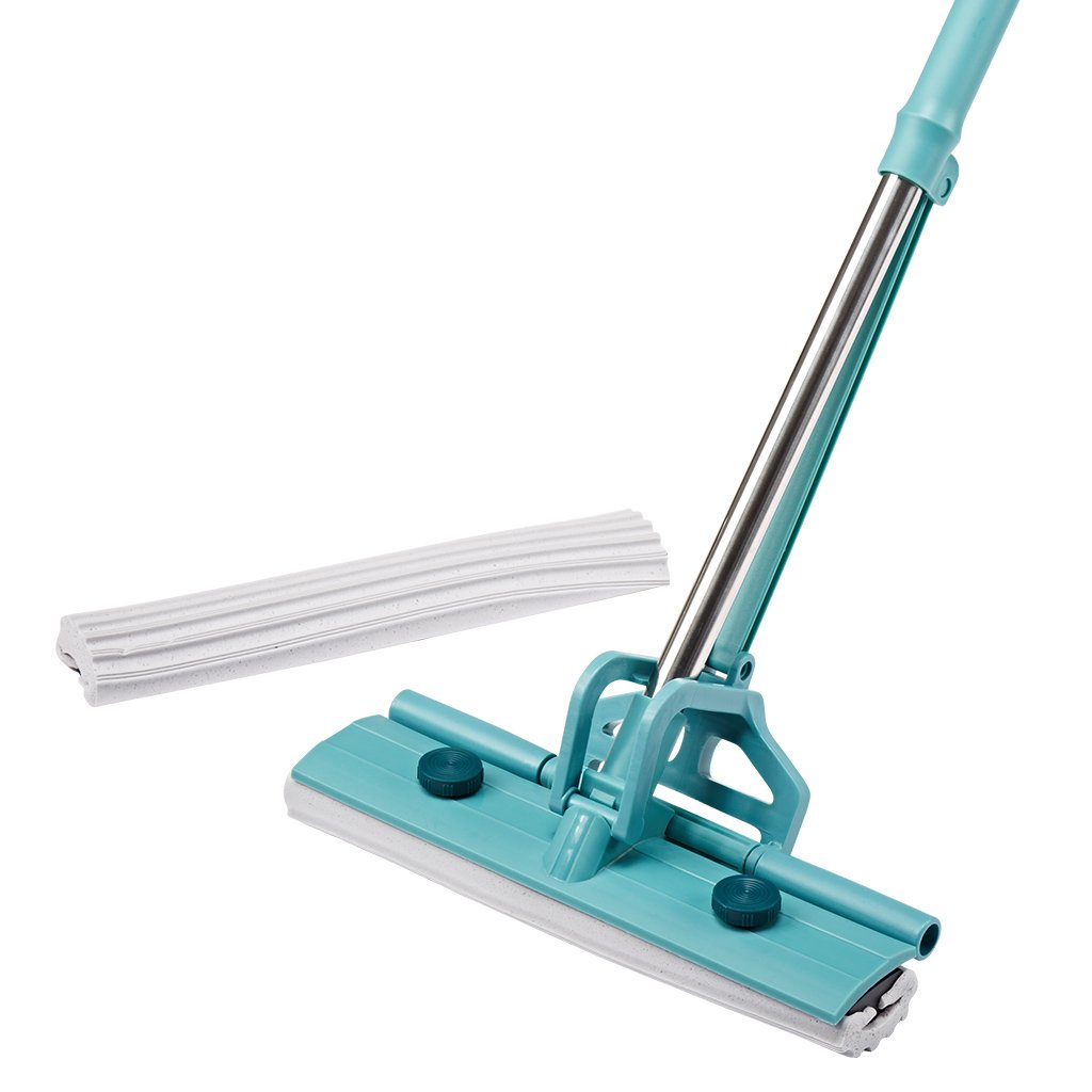 Finether PVA Sponge Mop Single-Roller Stainless Steel Absorbent Floor Mop Wet Mop with Two Sponge Mop Heads One Telescoping Handle Easy Wringing Action for Home Hardwood Floor Laminate Tile Window