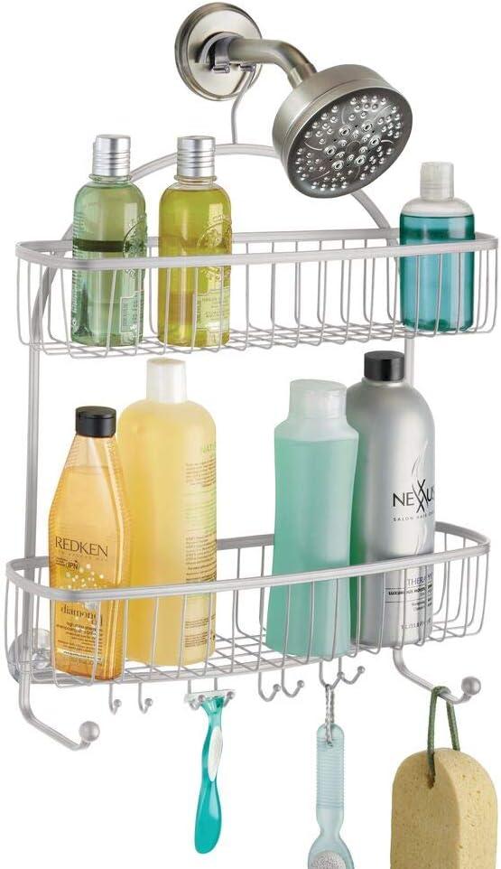 mDesign Organizador de Ducha para Colgar – Práctico Estante para Ducha de Metal Resistente – Cesta de Ducha sin Taladro para Tus Productos de higiene Personal (Botes de champú, Cuchillas, etc).