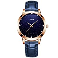 Quartz Watch Womens Waterproof Lady Watch Creative Starlight Dial Birthday Gift with Genuine Leather Band