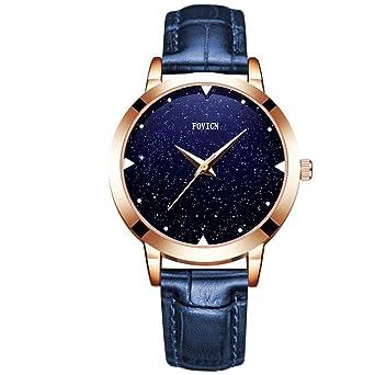 Reloj de cuarzo para mujer, resistente al agua, con esfera de estrella creativa, regalo de cumpleaños con correa de piel auténtica: Amazon.es: Relojes