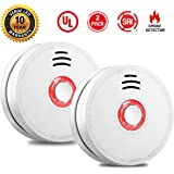 Smoke Alarm Fire Alarm Smoke Detector Test Button 9 Volt Battery-Operated Photoelectric Smoke Alarms Bedroom,Kitchen,Corridor,Bathroom Hotel,10 Years 2 Pack Smoke Alarm UL Listed