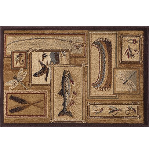 (Trout Fishing Novelty Lodge Pattern Ivory Scatter Mat Rug, 2' x 3')