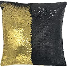 """DECOSY Decorative Sequin Throw Pillow Cover 1 Piece 16 by 16 inches for 17"""" or 18"""" Square Pillow Insert - Accent Mermaid Cushion Case Home Couch Sofa Chair Car Café Shop Décor"""