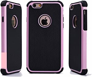 iPhone 6 Case,iPhone 6S Case,GOGING Impact Resistant Double Layer Shockproof Hard Shell Case Compatible for Apple iPhone 6/6S 4.7 inch (Pink)