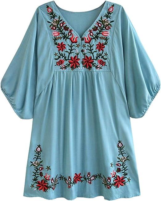 NANA318 Blusa de Mujer Boho Hippie Flores Bordadas Vestido de Blusa Mexicana Vestido de Verano Blusa de túnica de Bordado Bohemio-Aqua Blue-A5_Metro: Amazon.es: Hogar
