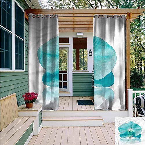 - Beihai1Sun Outdoor Curtain Panel for Patio,Aqua Blue Orchid Nature Botanic,Great for Living Rooms & Bedrooms,W84x108L