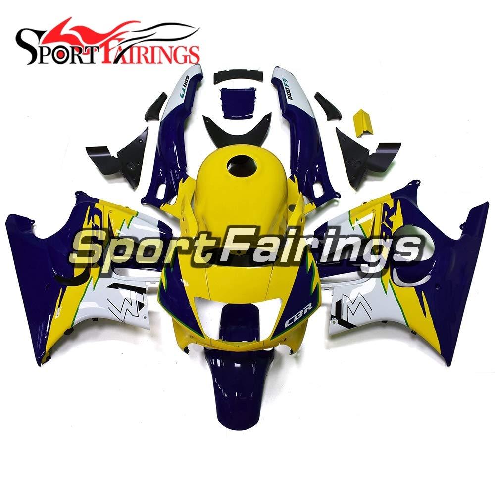 Sportfairings 外装部品セット適応フィッ オートバイフルフェアリングキットホンダ CBR600 CBR 600 F3 年 1995 1996 95 96 ボディキット ABS インジェクショングロスイエローブルーカウリング車体外皮   B07HBW4PY6