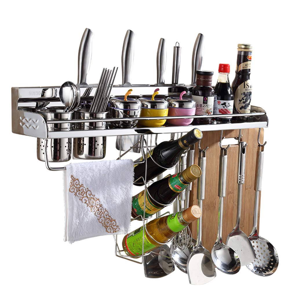 Kitchen Wall Organizers Spice Racks, LAMPTOP 7-in-1 Kitchen Wall Mounted Pot Pan Rack, Kitchen Utensil Holder with Bottle Rack & 10 Hooks, Hanging Pot Rack.Hanging Pot Holder. Kitchen Wall Shelf by LAMPTOP