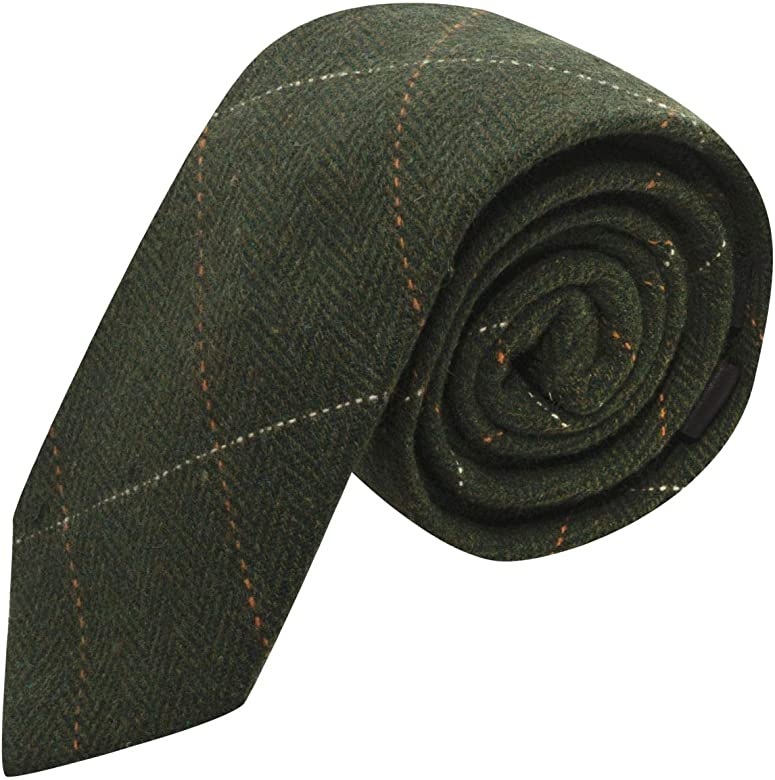 King & Priory Corbata de lujo de tela tweed en espiguilla verde ...