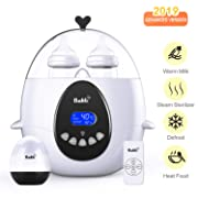 Bable Baby Bottle Warmer, Multipurpose Smart Bottle Warmer and Sterilizer with Remote Control & LCD-Display of Real-time and Target Temperature