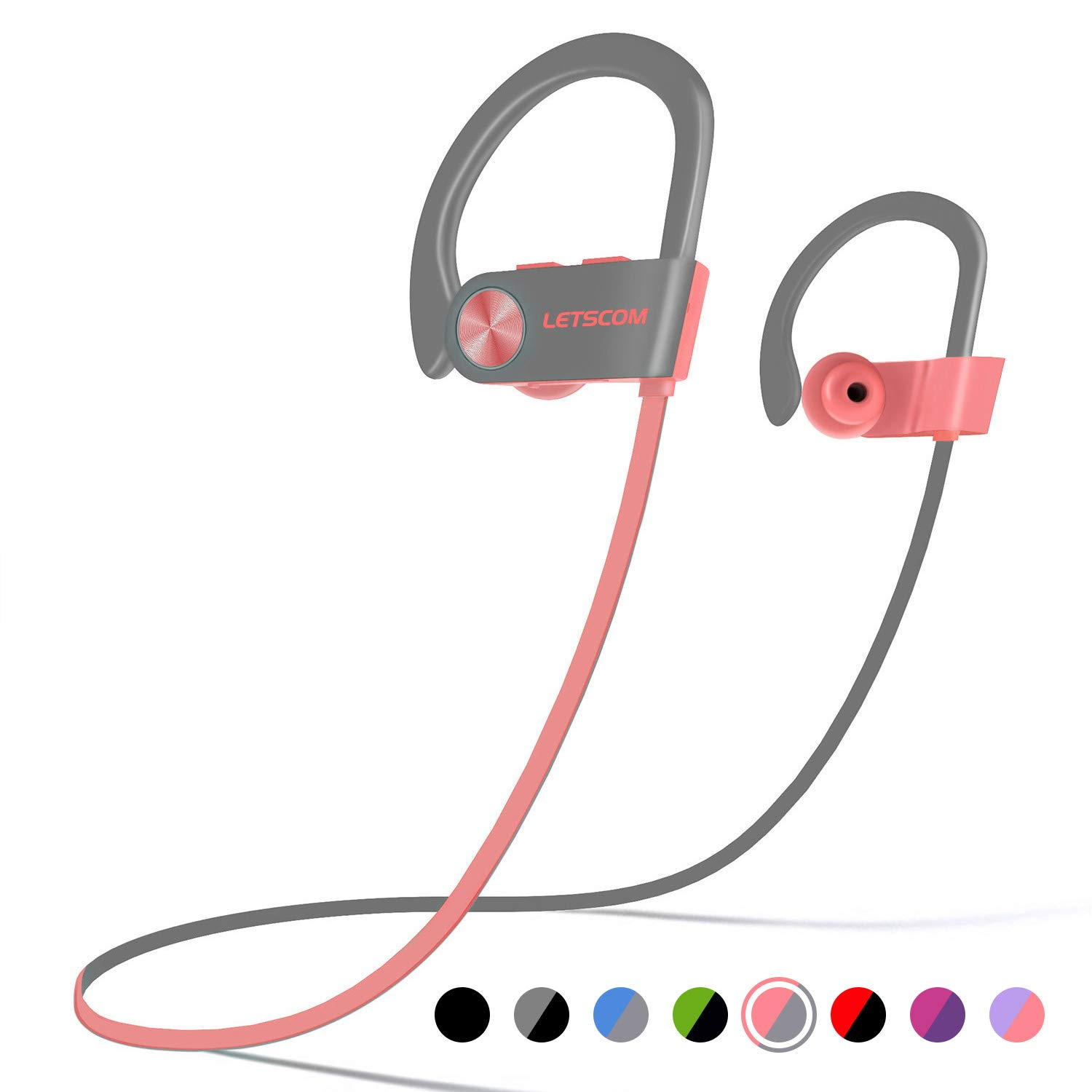 LETSCOM bluetooth headset IPX7 waterproof, motion wireless headset, bluetooth 4.1, acoustic bass stereo anti-perspiration earplugs w/microphone noise cancelling headphones exercise, running, fitness, 8 hours of playing time