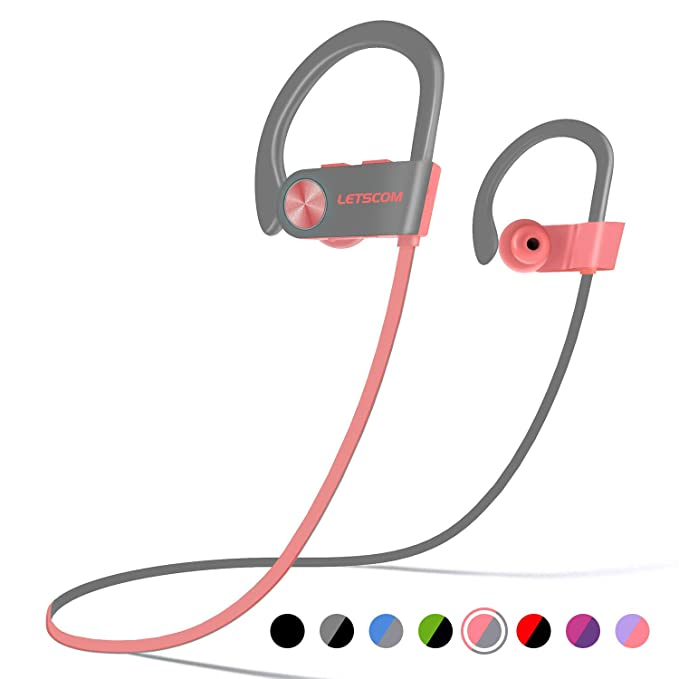 110aee35a53 LETSCOM Bluetooth Headphones IPX7 Waterproof, Wireless Sport Earphones  Bluetooth 4.1, HiFi Bass Stereo Sweatproof