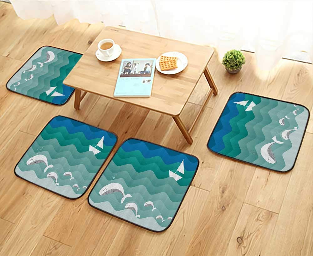 Printsonne Fillet Chair Cushion Nautical Theme with Paper Boat Sea Dolphins Underwater Sea Animals Suitable for The Chair W13.5 x L13.5/4PCS Set