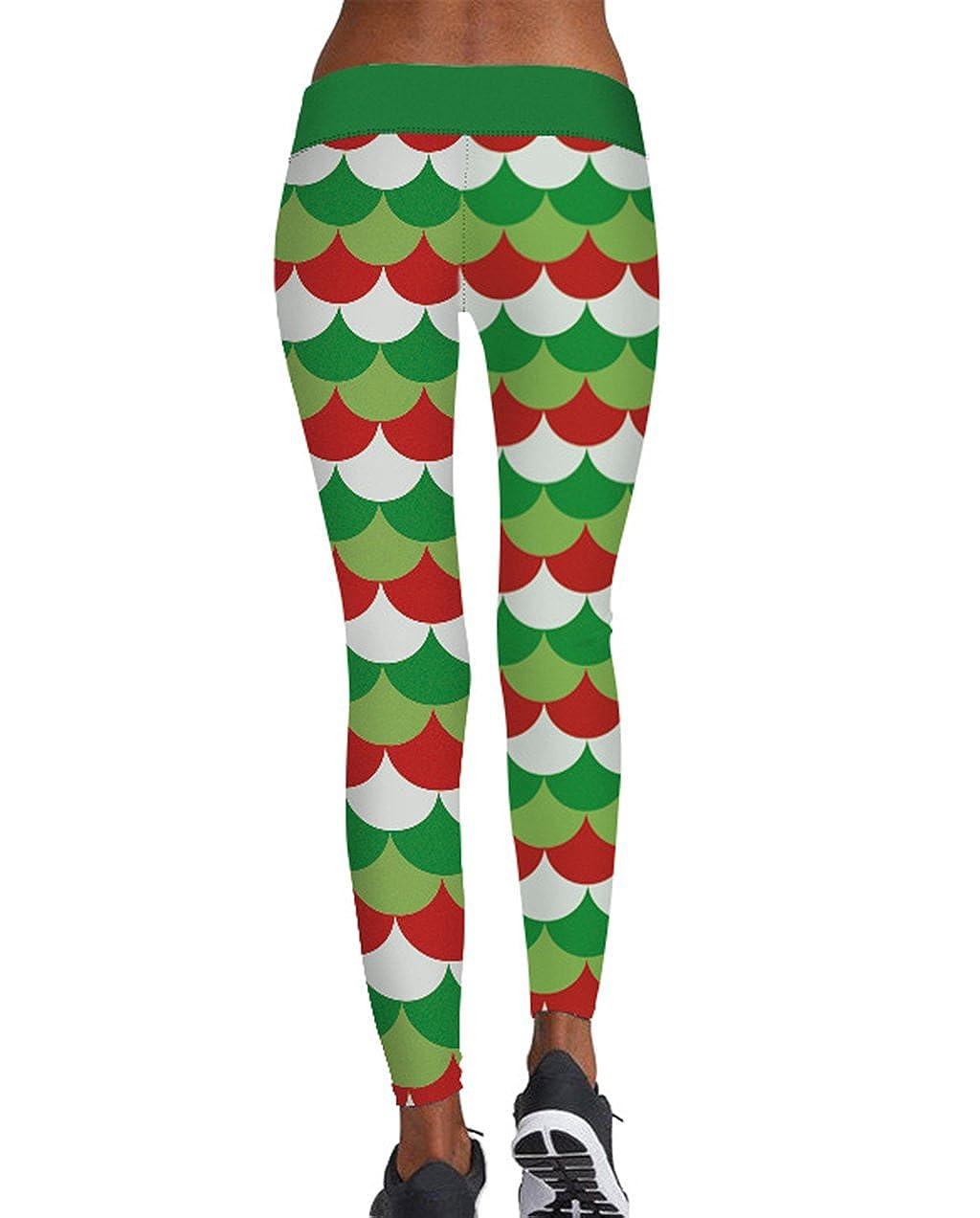 GUOLEZEEV Christmas Costume Novelty Leggings Stretch Yoga Tights Skinny Pants for Women
