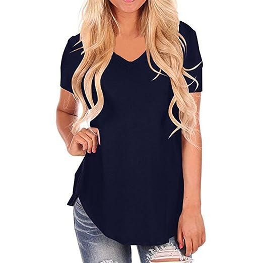 2c916d8ad3fa67 ZOMUSAR Women Tops and Blouses, Women's Casual Short Sleeve V-Neck  Irregular Hem Tee