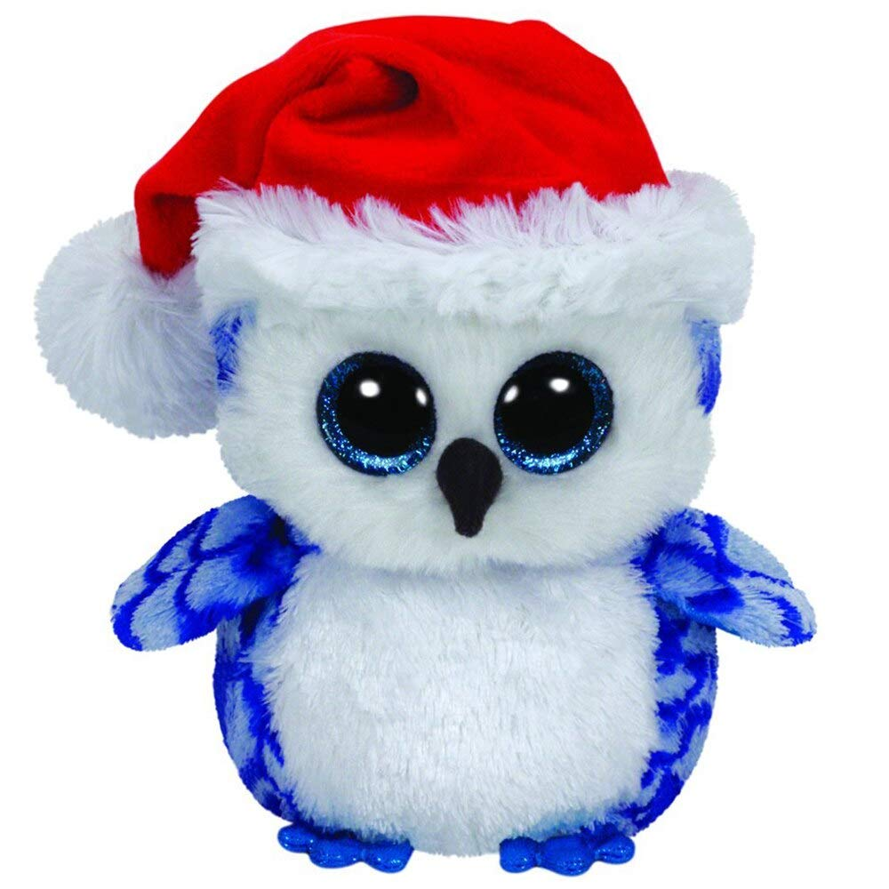 MANGMOC Pyoopeo Ty Boos 10'' 25Cm Icicles The Owl Plush Medium Soft Stuffed Animal Collectible Bird Doll Toy with Heart Tag Must Have Gifts Funny Gifts Toddler Favourite Superhero Cake Topper by MANGMOC