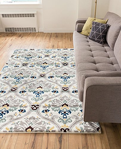 Ogee Waves Lattice Grey Gold Blue Ivory Floral Area Rug 5x7 ( 5'3