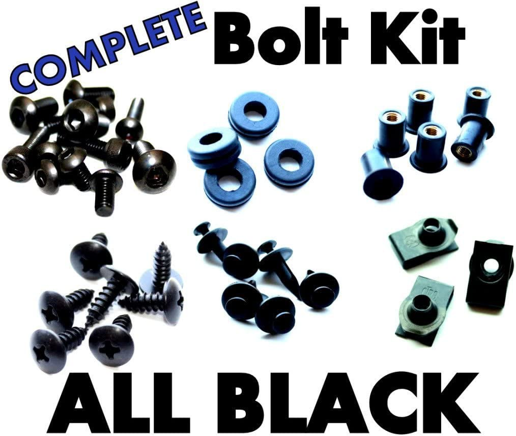 and Hardware Black Complete Motorcycle Fairing Bolt Kit Kawasaki 2009-2012 ZX-6R Body Screws Fasteners