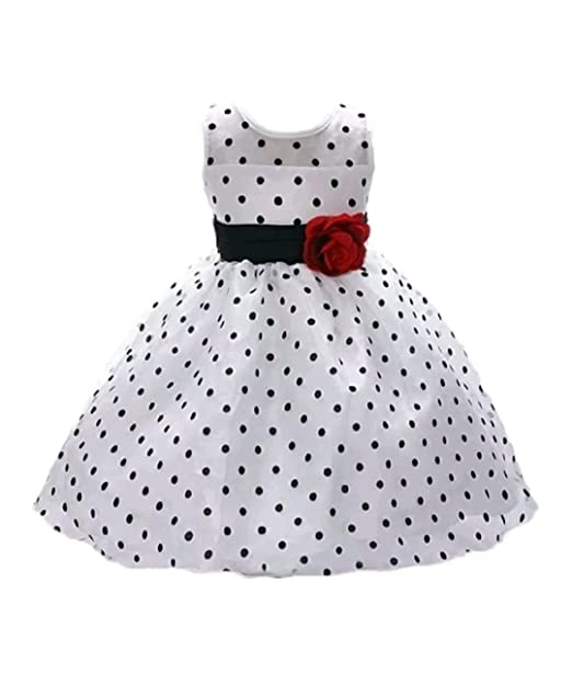 0237945f8ba3 A P Boutique Baby Girl Frock Party Dresses Birthday Outfits Black White  Polka Dot Dress