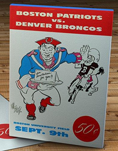 1960 Vintage Boston Patriots - Denver Broncos Football Program - Canvas Gallery Wrap - 12 x ()