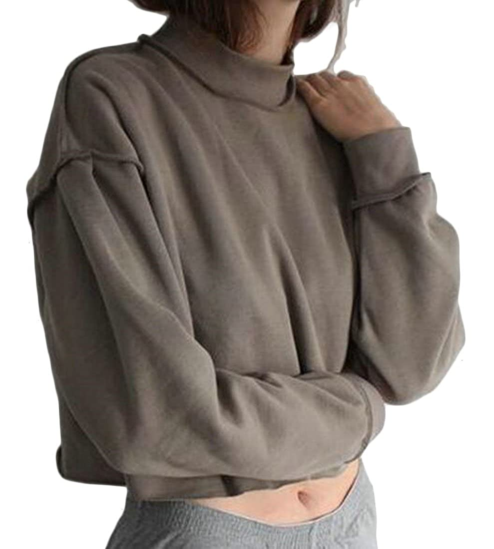 Hajotrawa Womens Loose Crewneck Crop Pullover Fleece Top Sweatshirts