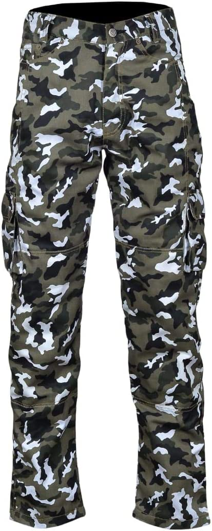 Mens Motorbike Motorcycle Padded Safety Protective Lining Camo Cargo Trouser Jean Pant 6 Pocket with Padding Camo Cargo, W30 - L34