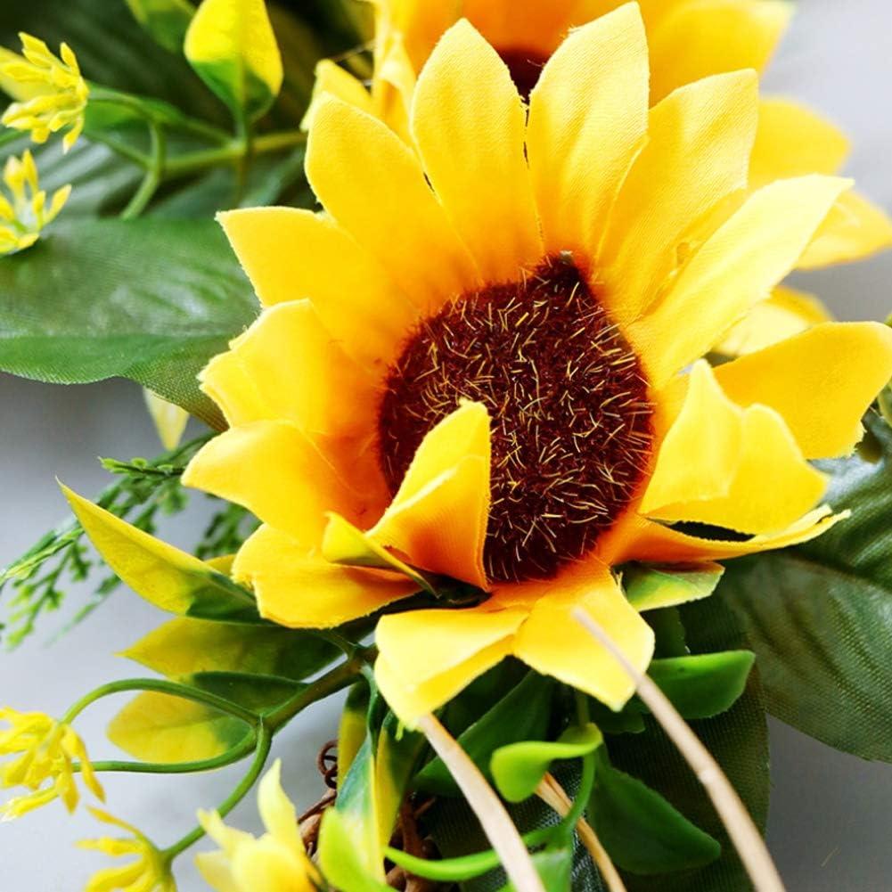 17.7 Inch Artificial Sunflower Wreath Front Door Wreath Christmas Indoor Outdoor Wreath for Wedding Party Front Door Wall Home Decor