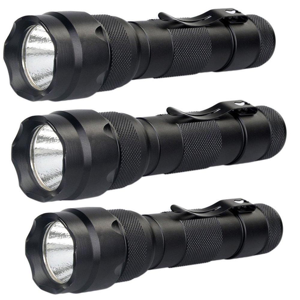 Batteries Not Included Hisonde 3Pack wf-502b Flashlight Tactical Flashlight 1000 Lumens Emergency Powerful Flashlights 5 Modes Heavy Duty Flashlight 18650 Flashlight Waterproof 502b Torch