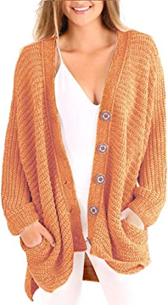 Plus Size Womens Cardigans Boyfriend Long Cable Knit Button Cardigan Sweaters with Pockets