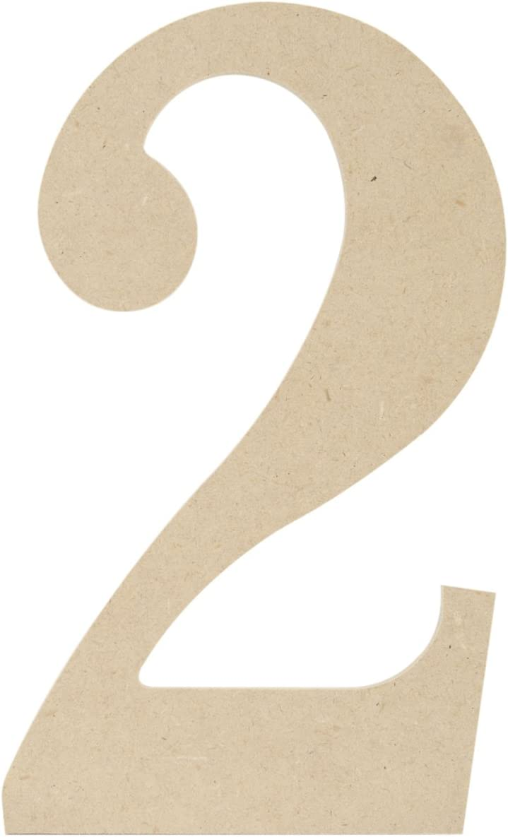 MPI MDF Classic Font Wood Letters and Numbers, 9.5-Inch, Number 2