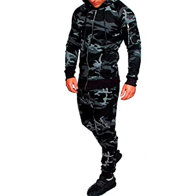 Wenyujh  Hommes 2 Pièces Survêtement Ensemble de Sport Camouflage Imprimé  Sweat-Shirt à Capuche 5c812f28a9d5