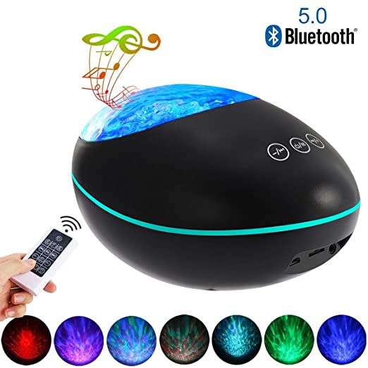 Yalatan Proyector Bluetooth 5.0 Lucky Stone Ocean Wave, 12 LED 8 ...