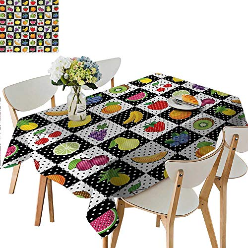 (Carnival Tablecloth,Kitchen Fruits Vegetables Nature with Dots Chess Squares Art Design Plastic Table Cloths for Parties,65W x 104L Inches Lilac Pale Green Lavander)