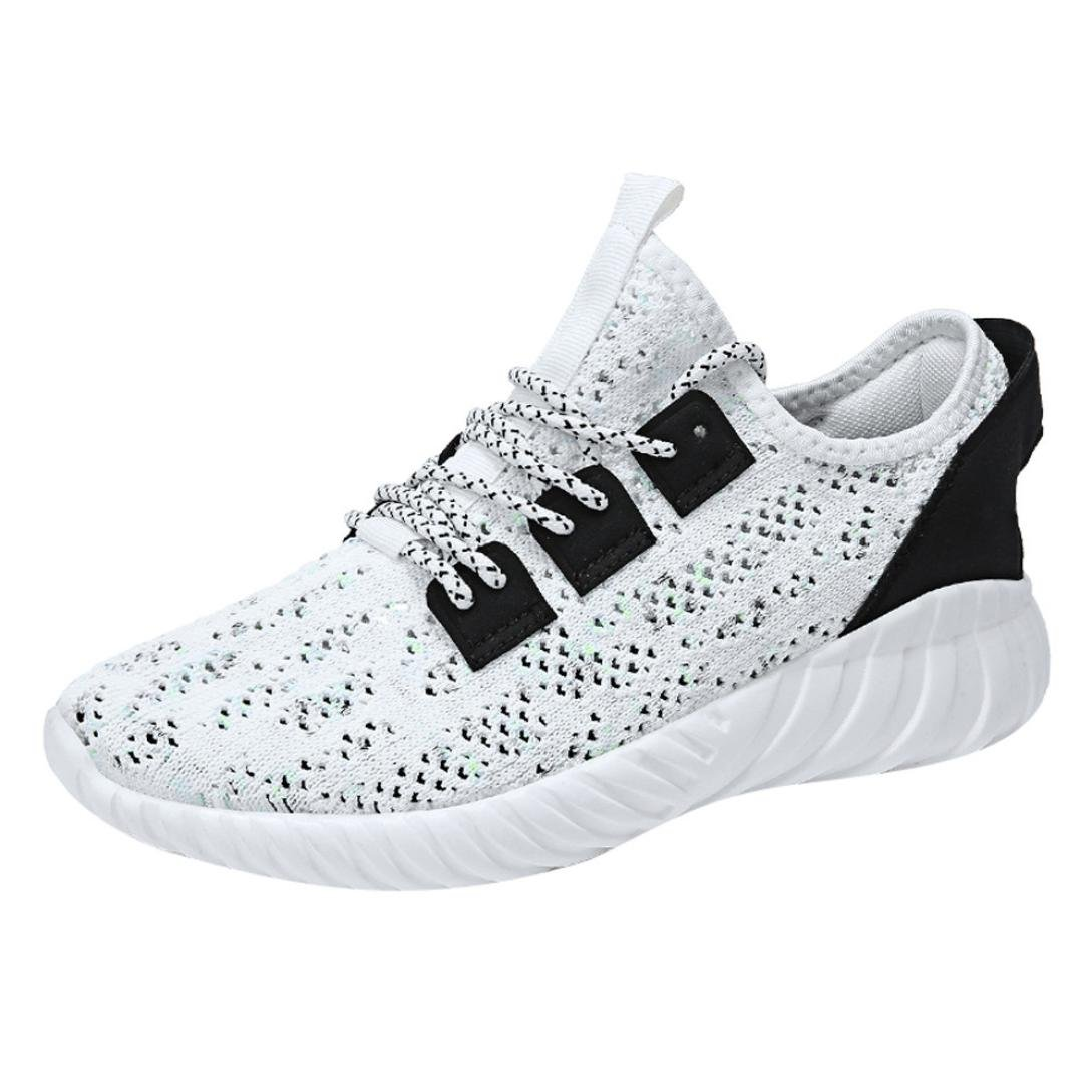 Clearance Men Running Shoe,2018 Unique Mesh Lightweight Breathable Casual Sneakers (White, US:8.5)