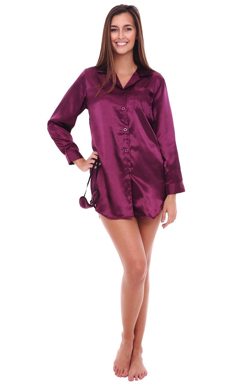 Alexander Del Rossa Womens Satin Nightshirt, Boyfriend Style Sleepshirt with Mask, Large Deep Purple (A0746DPULG)