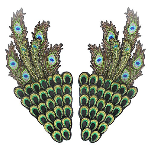 44x21 cm/17x8 inches Appliques Patches Iron On Patterns Print Embroidery Sewing Craft Supplies Machines Designs Logo Cloth Hat Bag DIY Decor (Peacock wings) (Designs Peacock Embroidery)