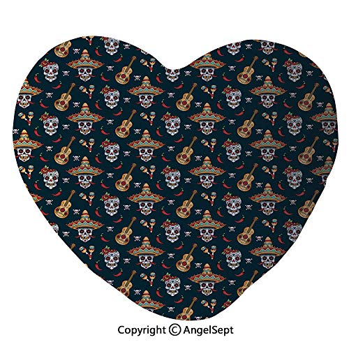 """AngelSept Throw Pillow with Insert,Detailed Artistic Floral Sugar Skulls with Sombrero Hats Chili Peppers and Guitars Heart Shape Reversible Decorative Pillow,17.7""""x19.7"""",Multicolor"""