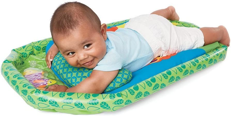 Earlyears Jungle Fun Tummy Time Mat Cushioned Mat, Inflatable Base, Support Pillow